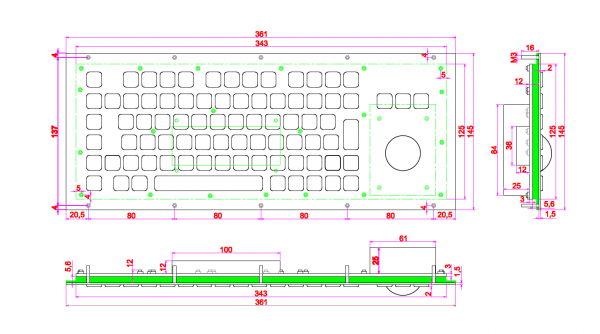 A361 MTB FN Endüstriyel Çelik Klavye